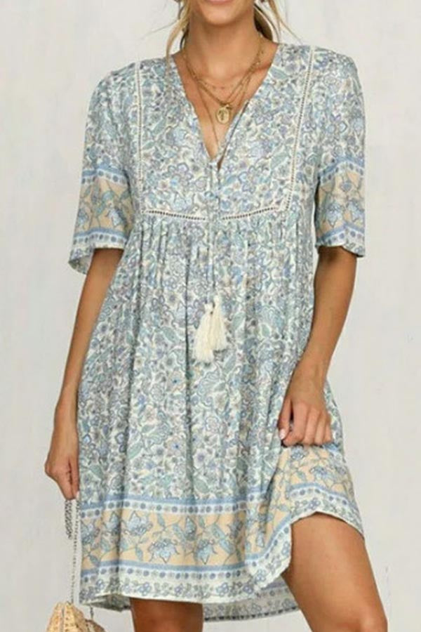 Casual Print Tassel Short Sleeves Bohemian  Mini Dress