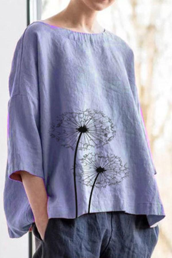 Casual Floral Loose Crew Neck Linen Blouse