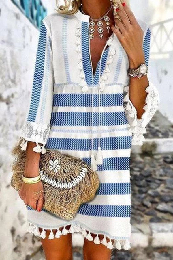 V Neck Tassel Stripe Print Mini Dress