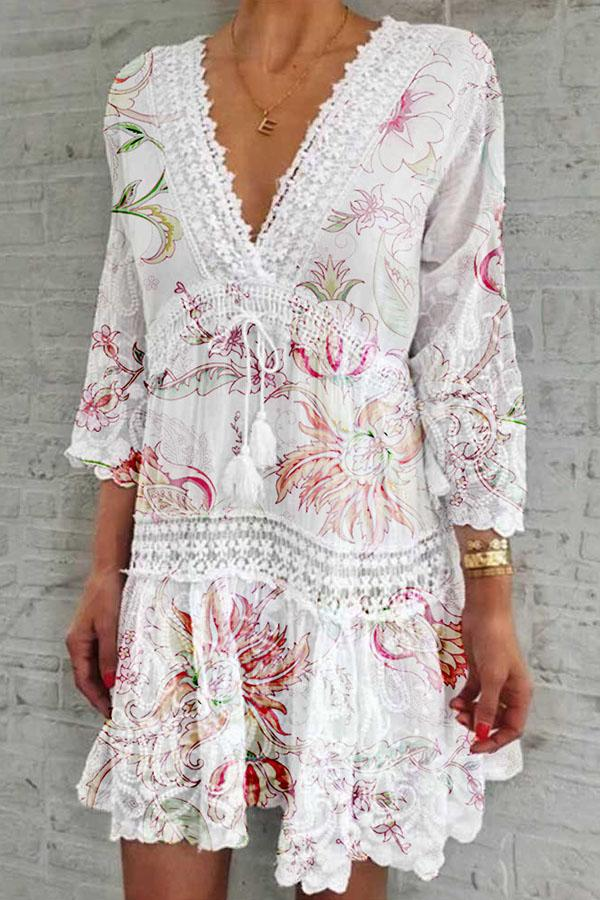 Bohemian Floral Print  Lace Drawstring Mini Dress