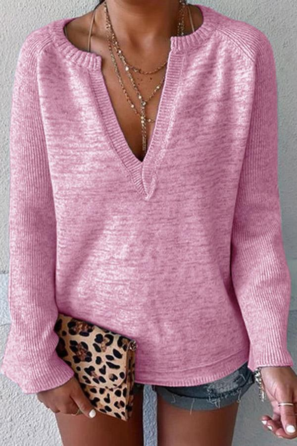 Deep V-Neck Solid Knitted Sweater