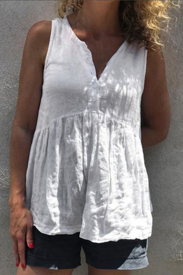 Solid V-neck Button Front Linen Tank Top