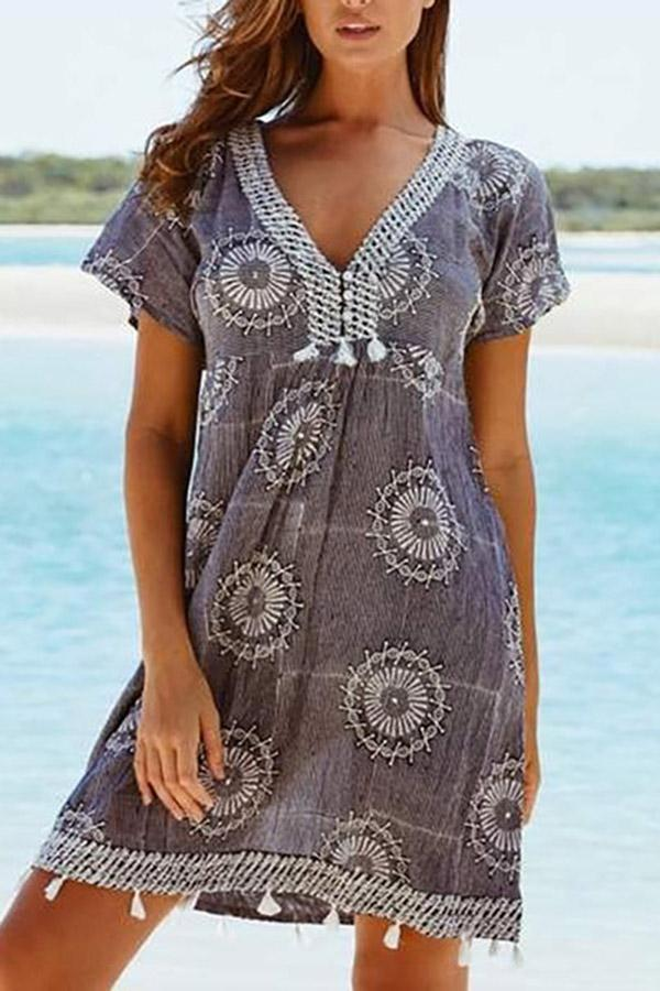 Holiday V Neck Printed Tassel Mini Dress