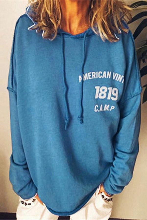 Long Sleeves Letter Printed Hoodie Sweatshirts