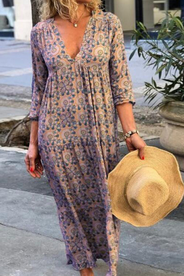 Bohemian Floral Print Deep V-neck Maxi Dress