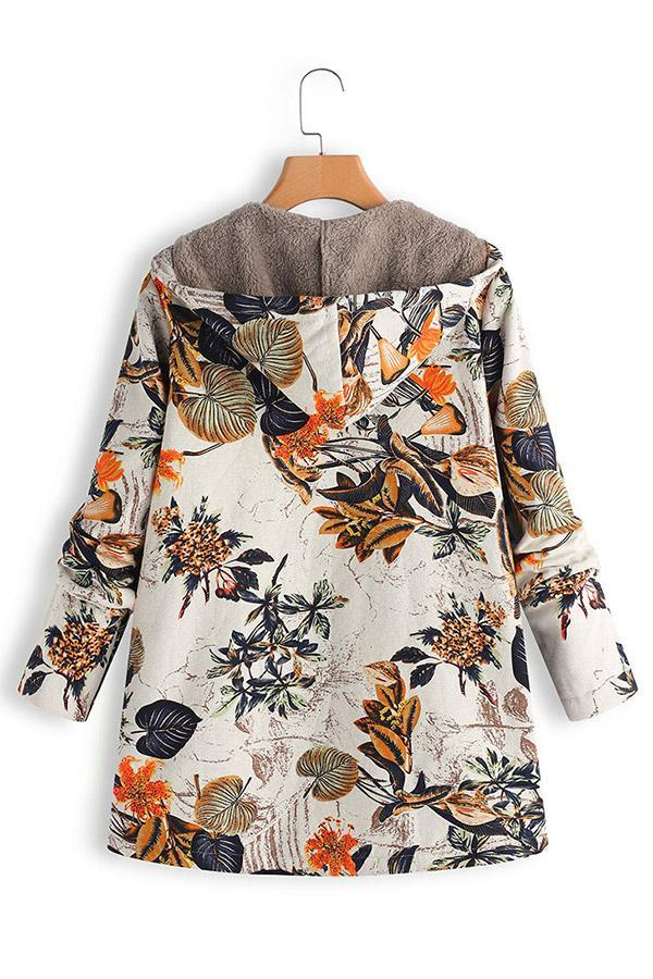 Floral Print Long Sleeve Hoodies Coat