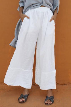 Side Pockets High Waist Solid Casual Linen Pants