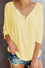 Solid Buttoned V-neck Casual Half Sleeve Blouse