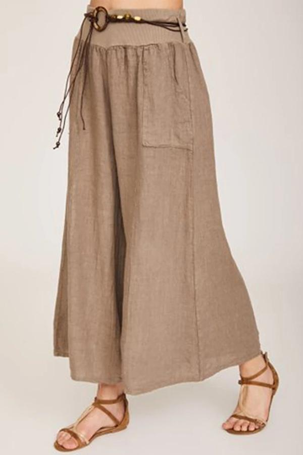 Casual Solid Side Pockets Wide Leg Pants