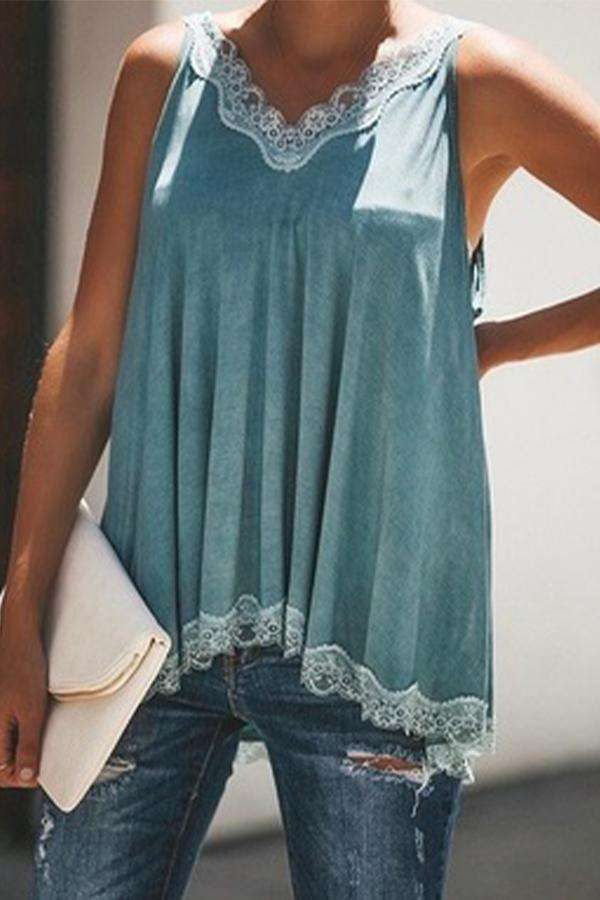 Fashion Lace Trim Casual Cami Top