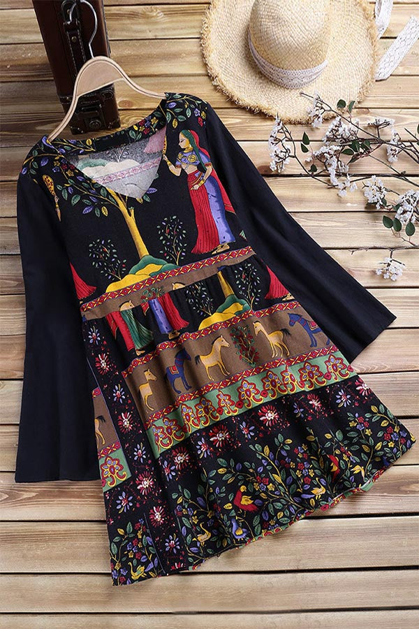 Casual Printed V Neck Long Sleeves Mini Dress
