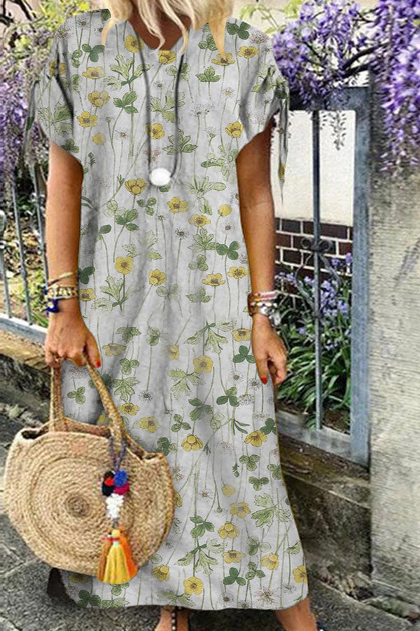 Casual Floral Loose Round Maxi Dress