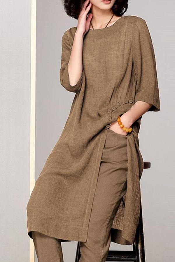 Solid Buttoned Slit Hem Long T-shirt Dress
