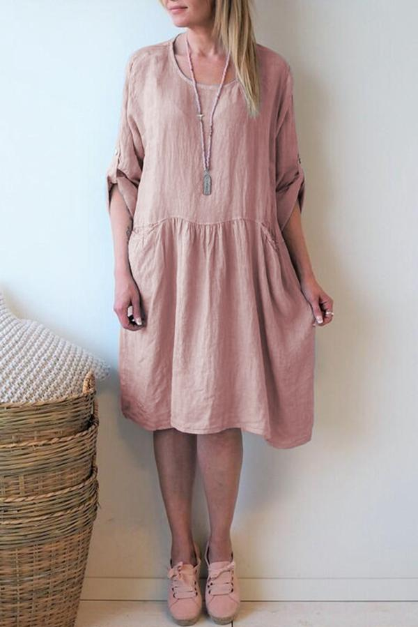 Casual  Shirred Solid Long Sleeve Midi Dress