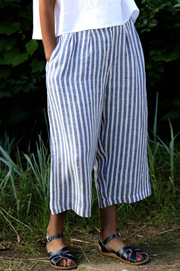 Casual Stripe Pockets Pants