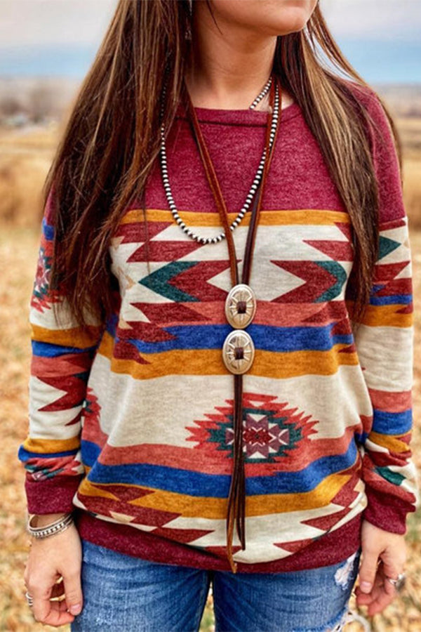 Round Neck Long Sleeves Print Sweatshirt