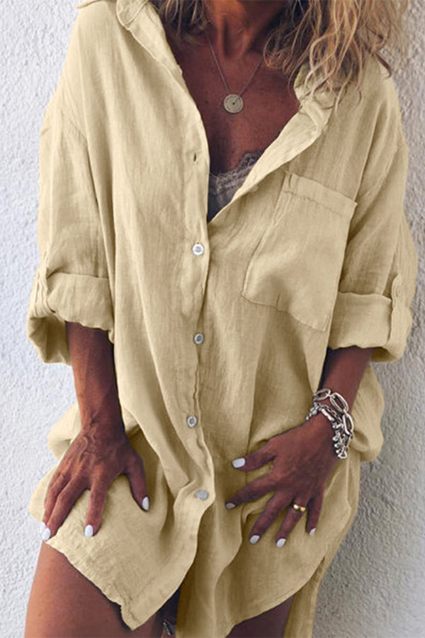 Casual Solid Linen Shirt