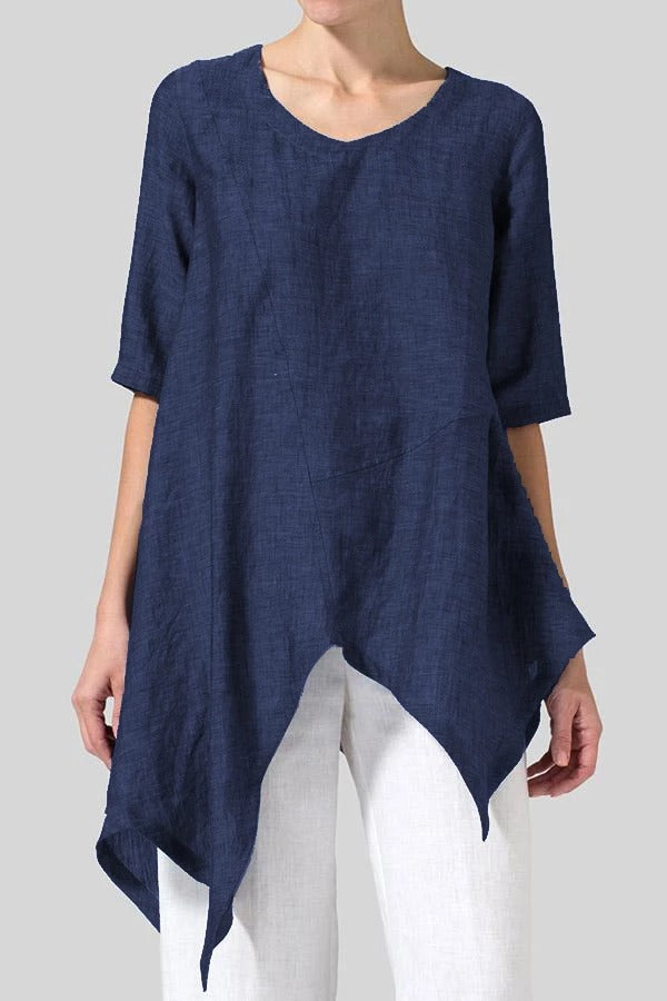 Asymmetric Half Sleeves Linen T-shirts