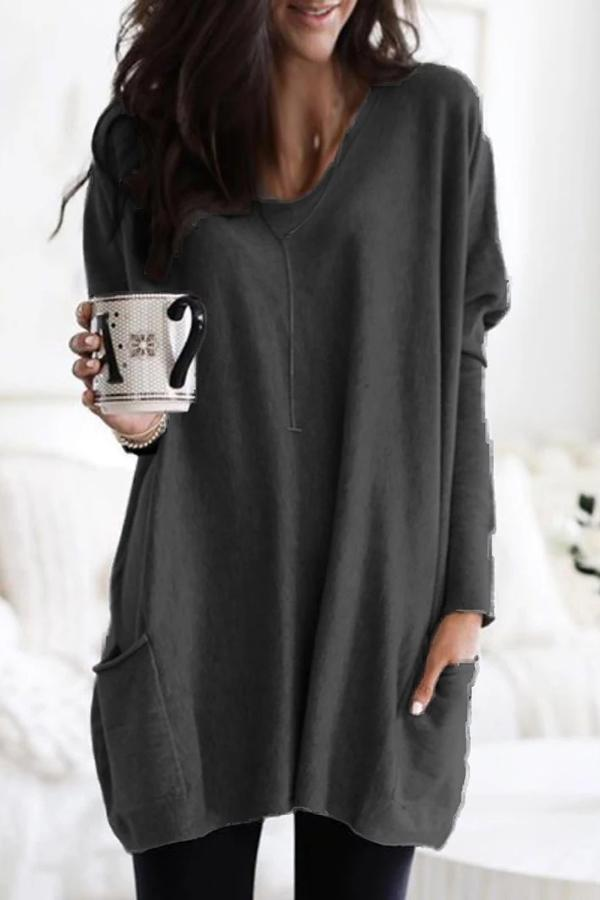 V Neck Long Sleeves Pockets Blouse
