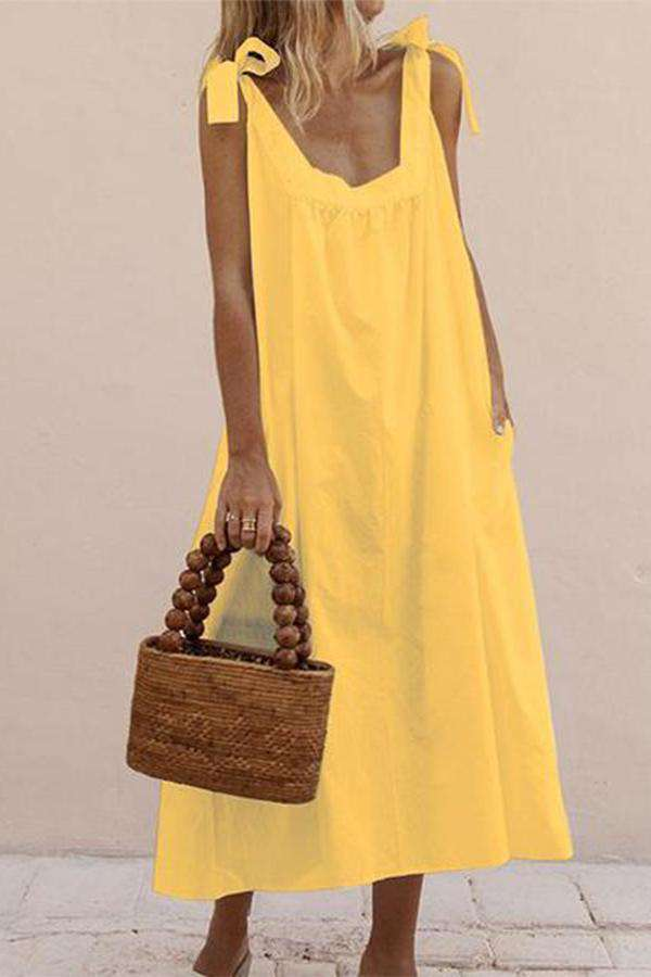 Casual Straps Pure Colour Sleeveless Dresses