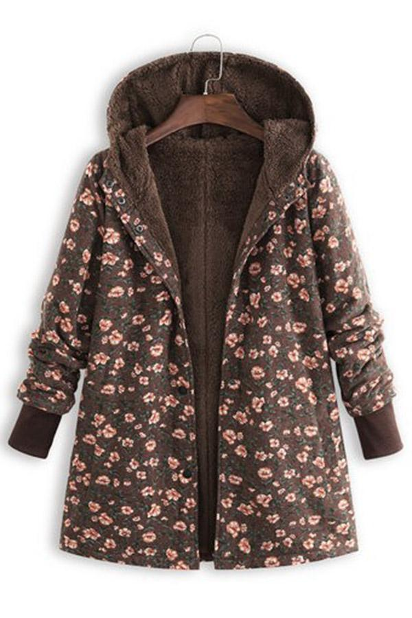 Floral Print Pockets Fleece Hoodie Coat