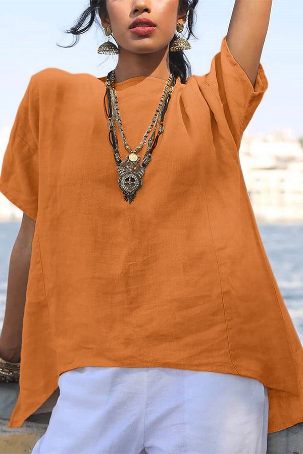 Solid Color Casual Linen Blouse