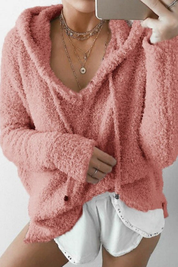 Drawstring Fuzzy Long Sleeves Hoodie