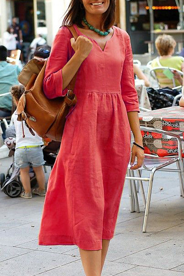 Casual V- neck 3/4 Sleeve Midi Dress
