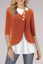 Color-block Buttoned Half Sleeves Lapel Blouses