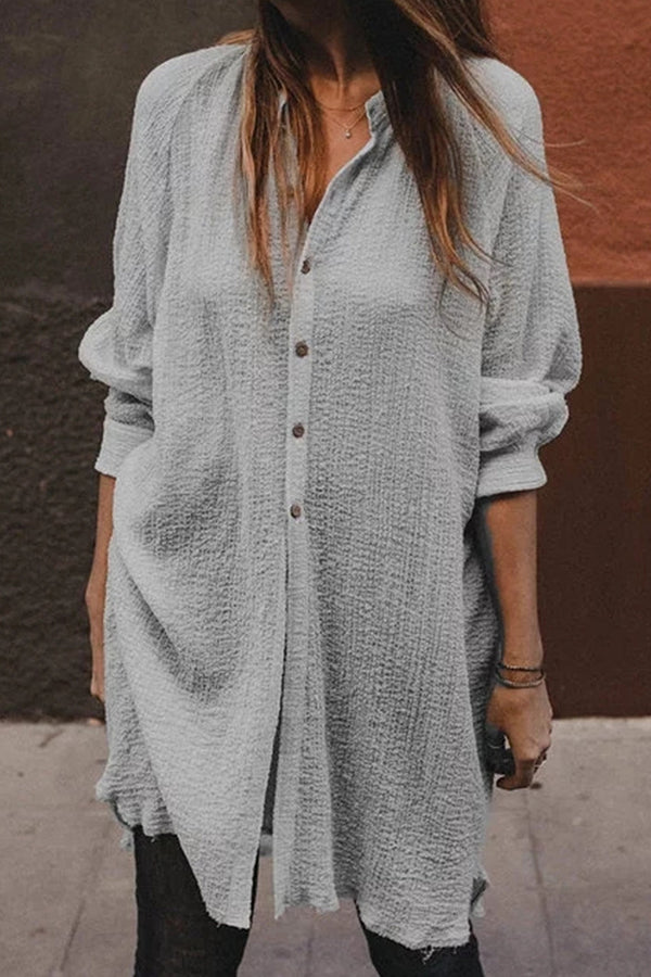 Casual Solid Button Down Shirt Dress