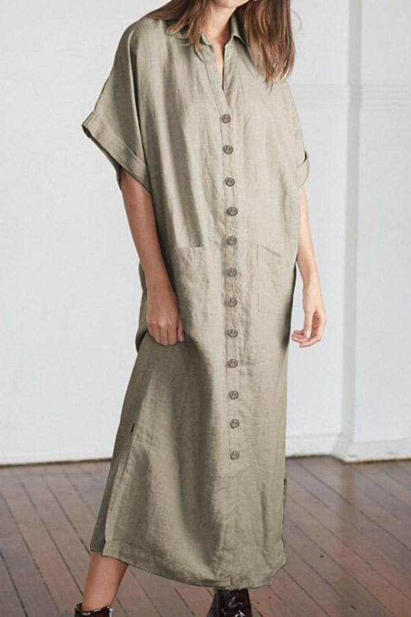 Buttoned Pockets Shirt Collar Linen Maxi Dress