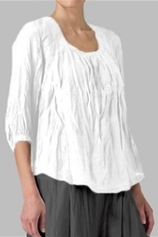 Solid Crew Neck Ruched Blouse