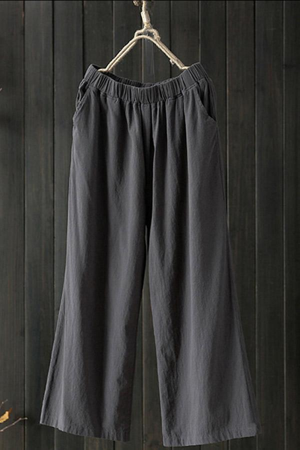 Casual Loose Linen Solid Side Pocket Pants