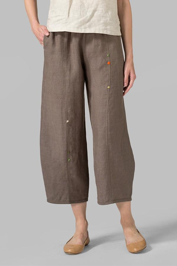 Embroidery Casual Linen Pants