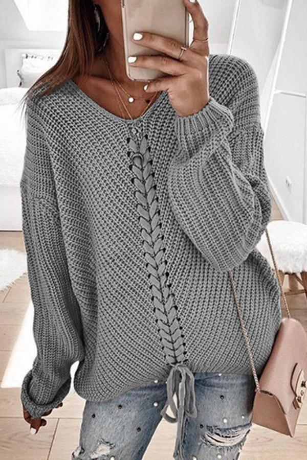 Solid V Neck Long Sleeve Paneled Sweaters
