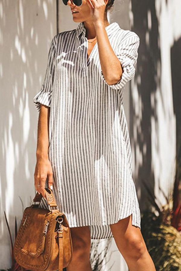 Stripe High Low Slit Pockets Mini Dress