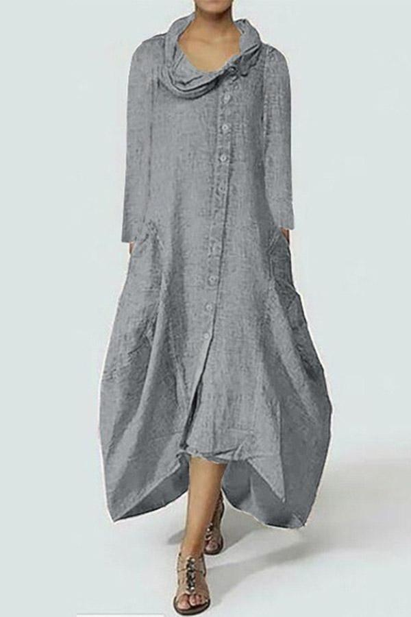 Cowl Neck Casual Solid Linen Maxi Dress