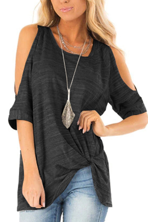 Round Neck Stripe Twist T Shirt