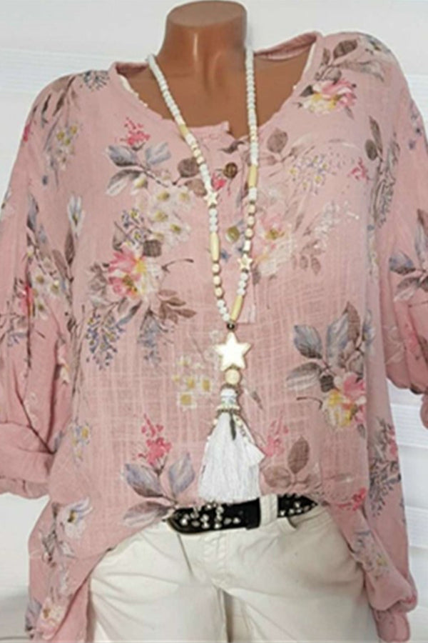 Floral Print Long Sleeves Blouse