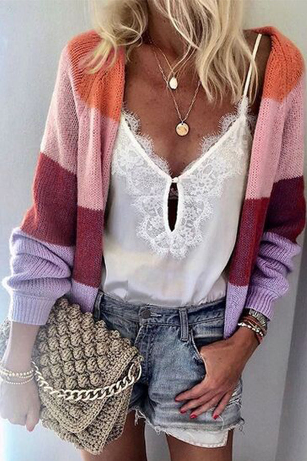 Colorful Stripe Stitching Knit Cardigan