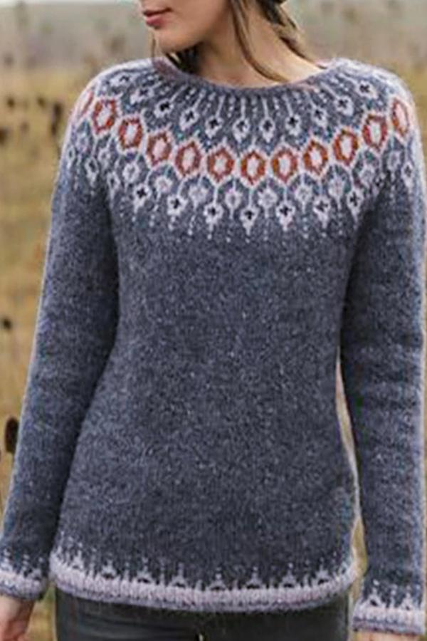 Daytime Printed Crew Neck Long Sleeves Sweater
