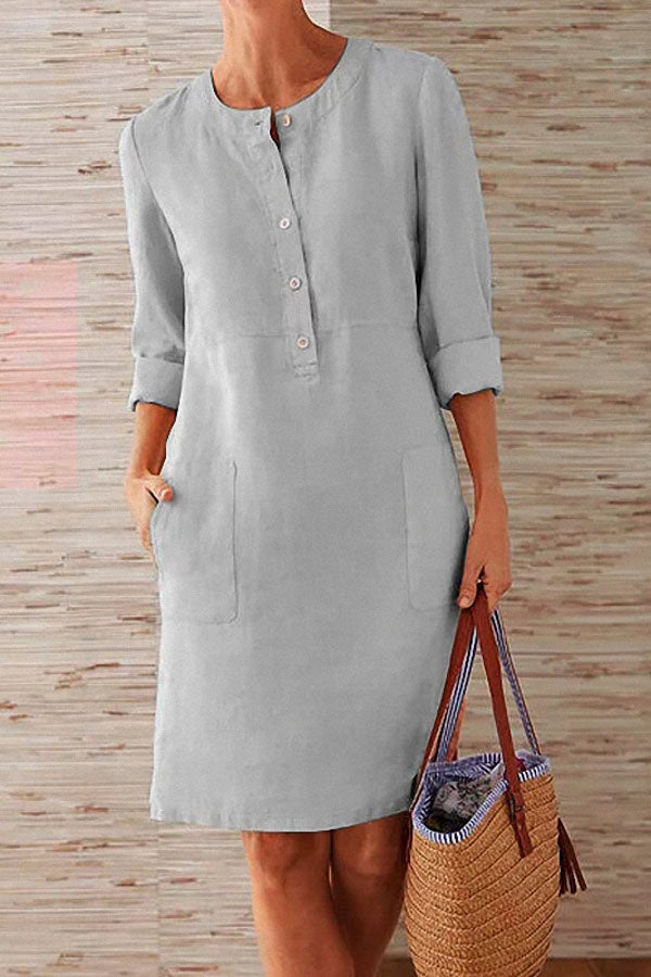 Pockets Front 3/4 Sleeves Linen Midi Dress