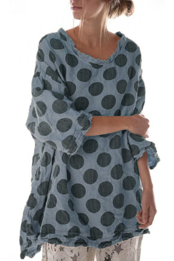 Polka Dots Printed Round Neck Loose Blouse