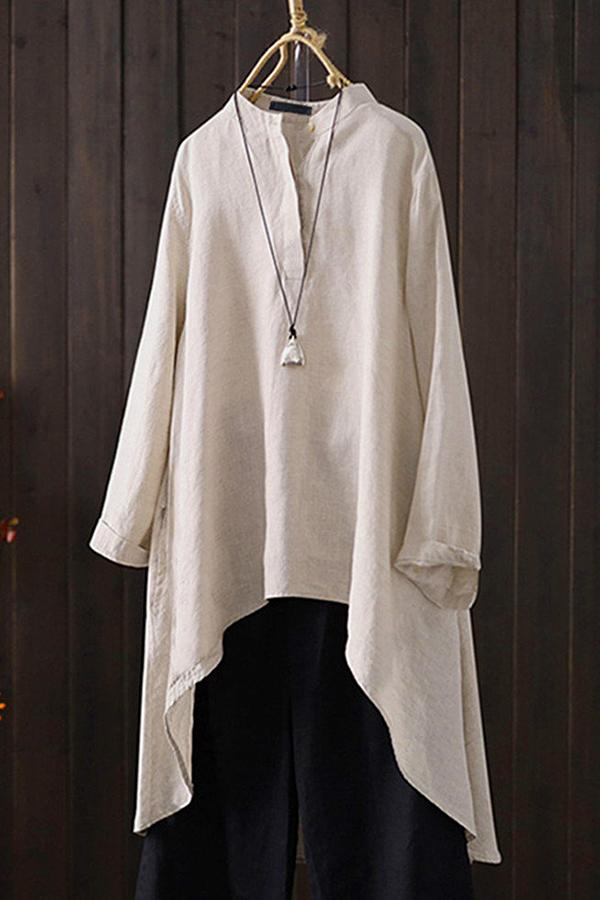 Plus Size Button Down Irregular Hem Linen Top