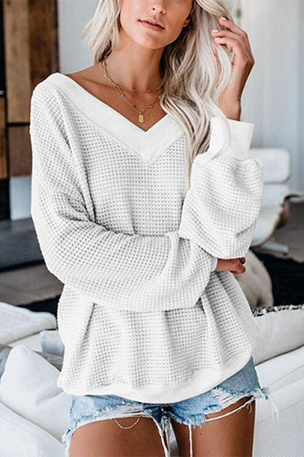 V Neck Long Sleeves Knitted Sweaters