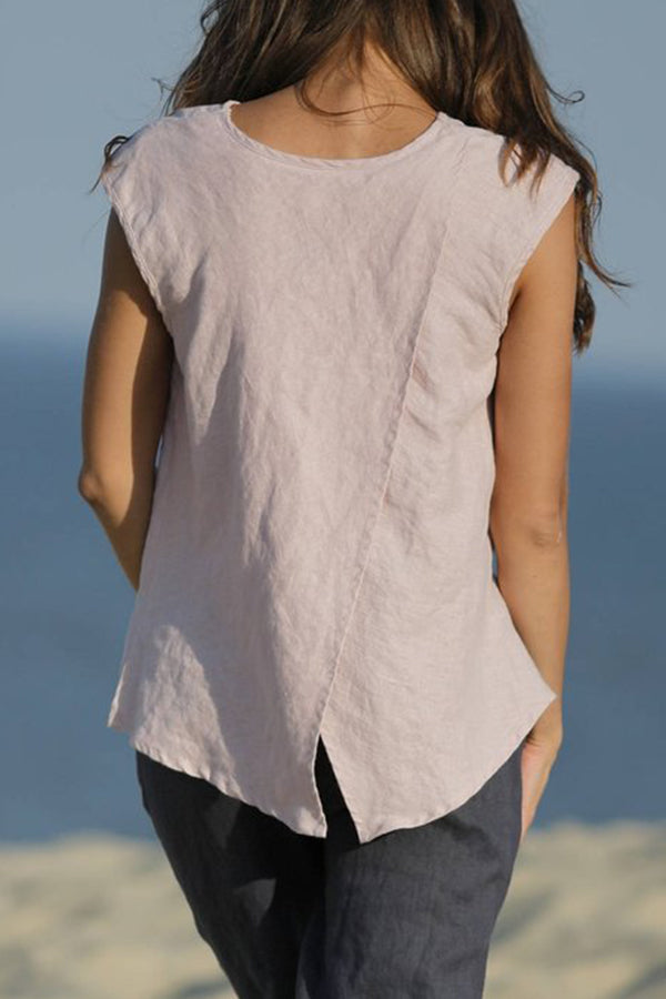 Sleeveless Solid Color Casual Linen Tank