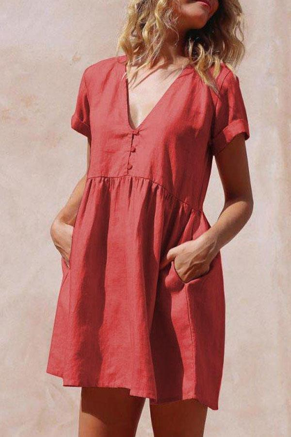 Solid Paneled Buttoned V-neck Pockets Mini Dress