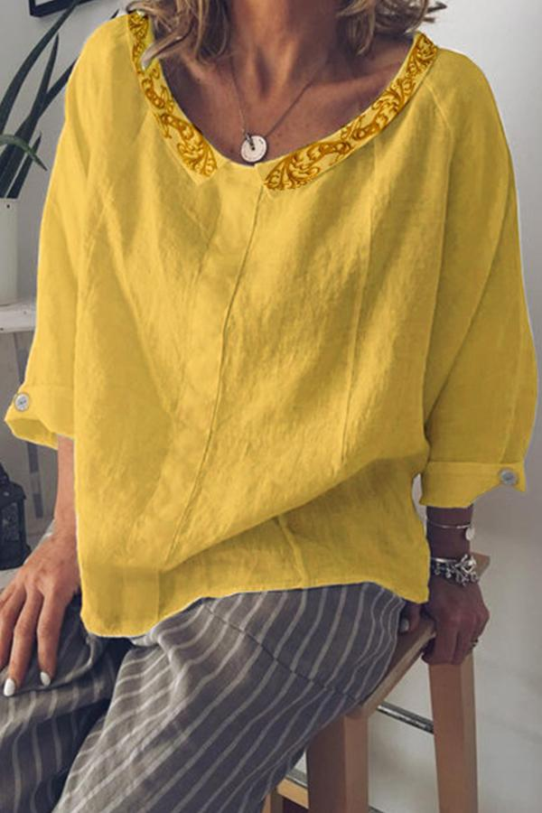 Casual Embroidery Button Crew Neck Blouse