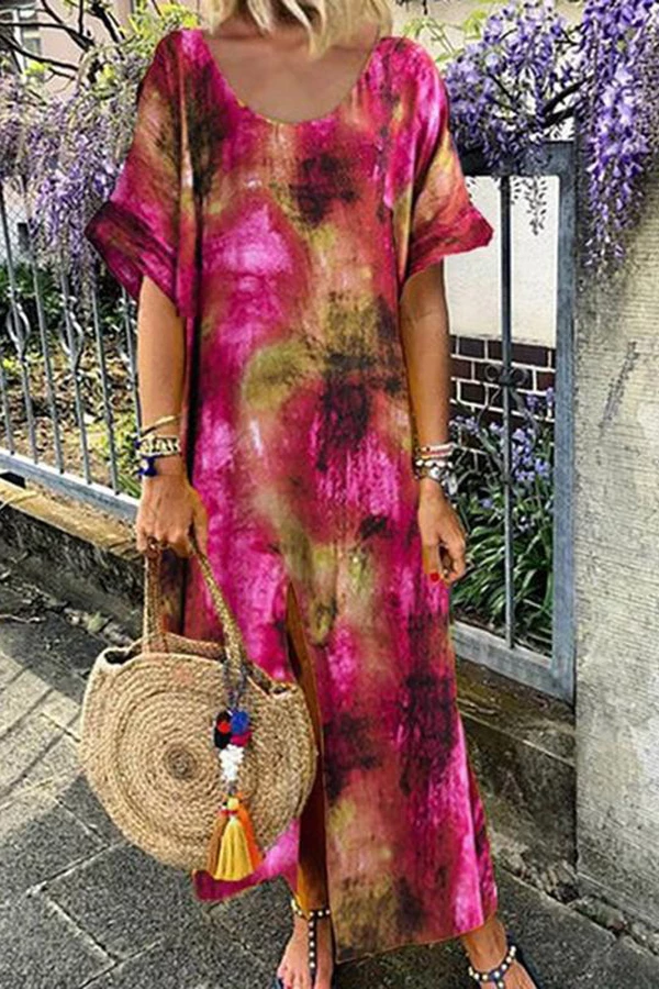 Vintage Gradient Print Slit Hem Maxi Dress