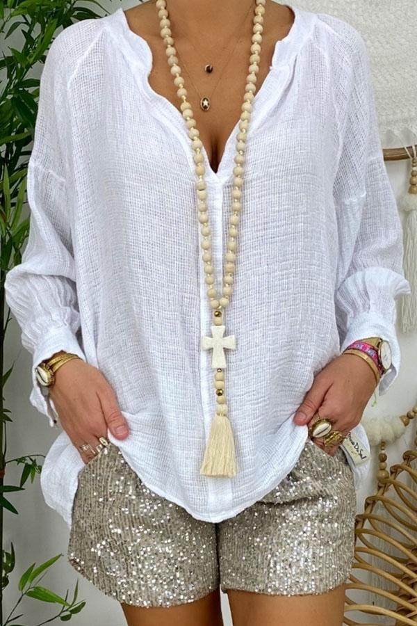 Casual Solid Loose V Neck Long Sleeves Blouse